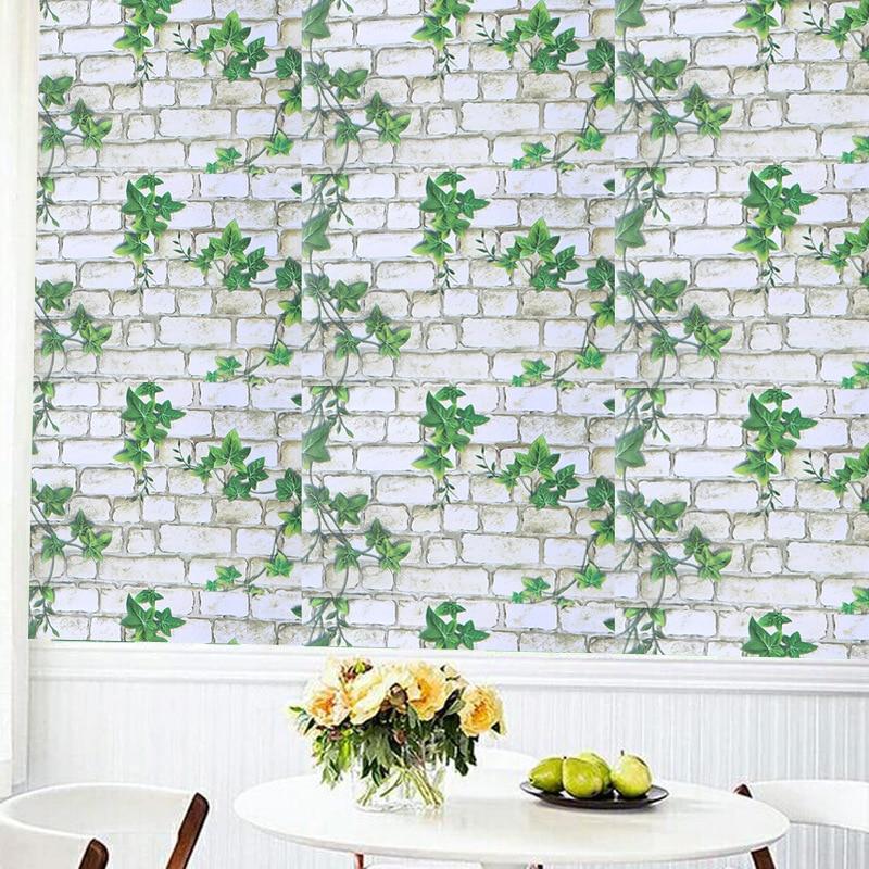 3d Green Leaf Vine Brick Wallpapers For Living Room Bedroom Shop Hotel TV Background Wall Sticker Home Decor PVC Wallpaper Mural