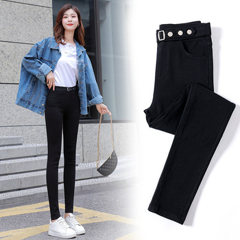 Z   2020 Autumn New Style  Slimming Outer Wear Black and White with Pattern Leggings Skinny Black Trouse