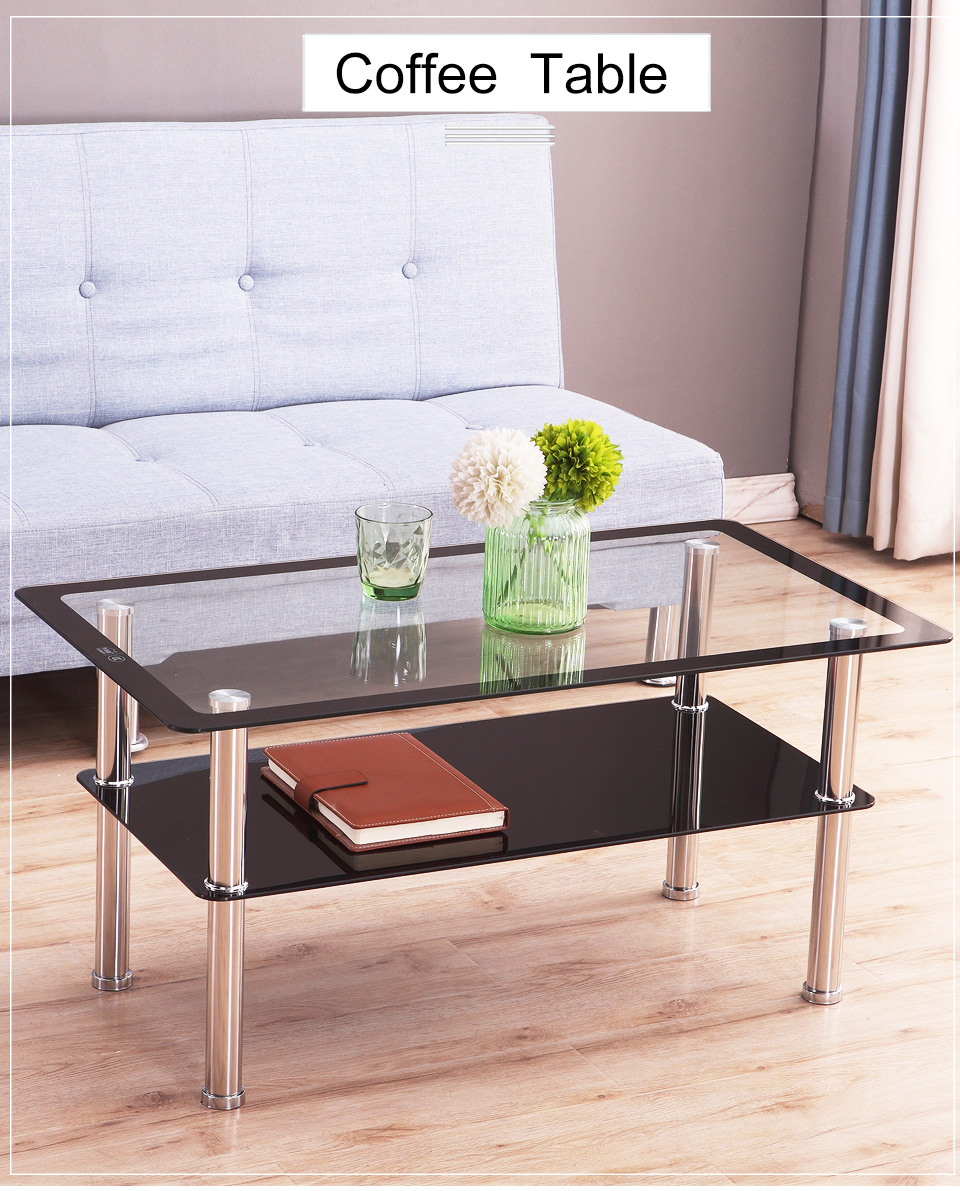 rectangular tempered glass coffee table