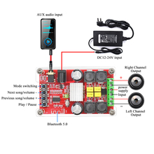 Bluetooth Digital Amplifier Board Dual Channel 50W*2 TPA3116D2 5.0 High Power Audio Amplifiers DC12-24V Support decode