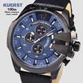 AAA Pulseira de Couro Moda Mens Chronograph Homens Relógio Analógico De Quartzo Azul 2019 Mens Relógios Top Marca de Luxo relógio de Pulso Casual