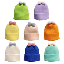 Newborn Boys Girls Cute Autumn Winter Warm Kids Baby Bowknot Design Hats Wool Hemming Caps Baby Hats Newborn Unisex NEW