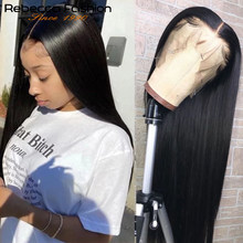 Perruque Lace Frontal wig 360 brésilienne Remy, cheveux naturels lisses, 13x6, naissance des cheveux pre-plucked, 30 pouces, pour femmes africaines