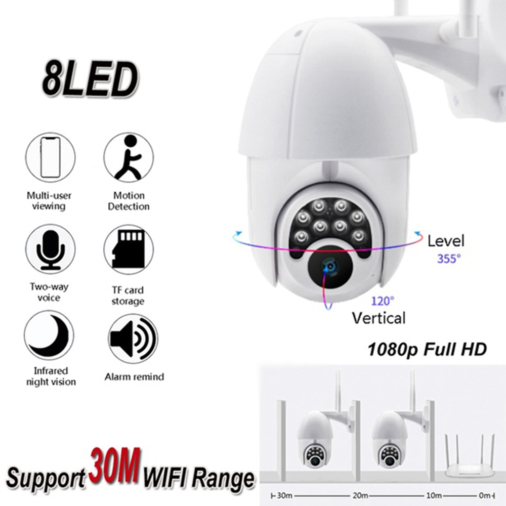 6x Zoom 8 LED HD 1080P Outdoor Waterproof WiFi IP Camera Full-Color Night Vision Home Security Surveillance Camera 200W