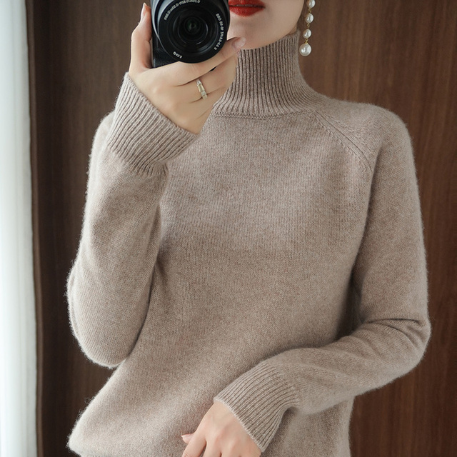 Turtleneck Cashmere sweater  women winter cashmere jumpers  knit  female long sleeve thick loose pullover 1