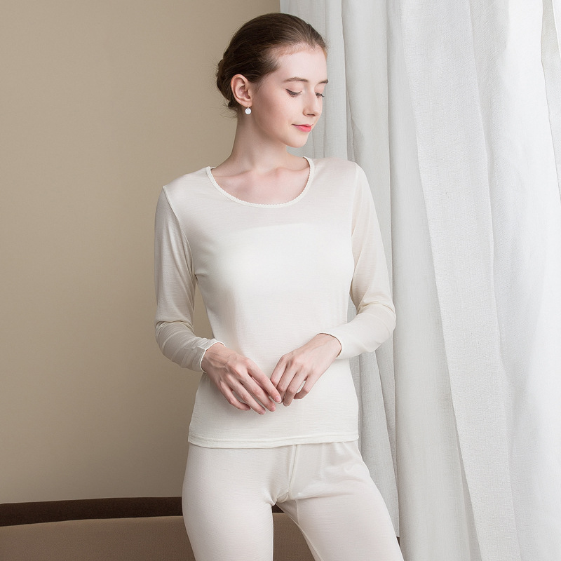 Women's Thin Silk Wool Thermal Underwear With Silk Knitting Soft And Comfortable Long Johns