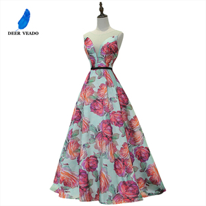 Image 1 - DEERVEADO Evening Dress Long Flower Print Formal Dress Elegant Woman Occasion Party Dresses Evening Gown Robe De Soiree M218