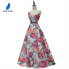 DEERVEADO שמלת ערב ארוך פרח הדפסת לבוש הרשמי אלגנטי אישה אירוע המפלגה שמלות ערב שמלת חלוק דה Soiree M218