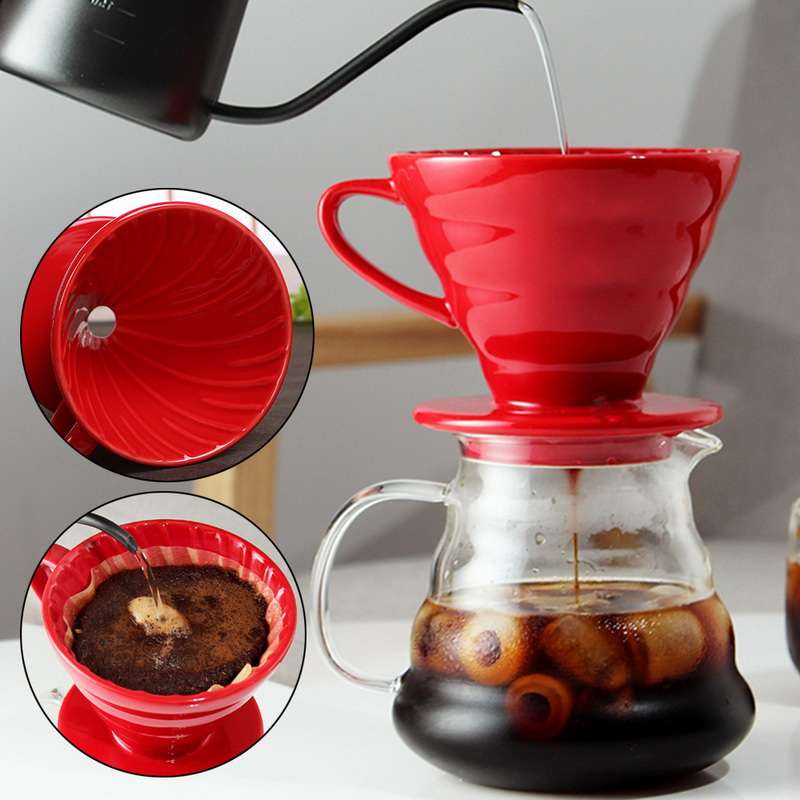 Ceramic Reusable Coffee Drip Filter Cup Heat Resistant V60 Style Coffee Dripper 1/4Cups Separate Stand For Coffee Pot#25
