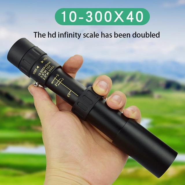 4k10-300x40mm 슈퍼 망원 줌 단안 망원경 휴대용 캠핑 지원 스마트 폰 사진을 찍는 도매