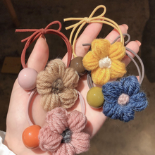 Fashion Wool Flower Hair Rope Ring Korean Cute kawaii Sweet  Beads Tie Tendon Head New Arrive Hot Sale