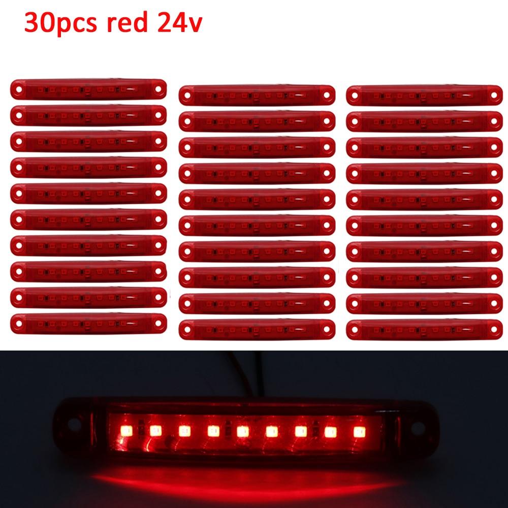 30 шт 24v красный автобус/грузовик/прицеп/светодиодные фонари для грузовика Боковой габаритный фонарь Водонепроницаемый светодиодные задние индикатор стояночного света Система освещения для грузовика      АлиЭкспресс