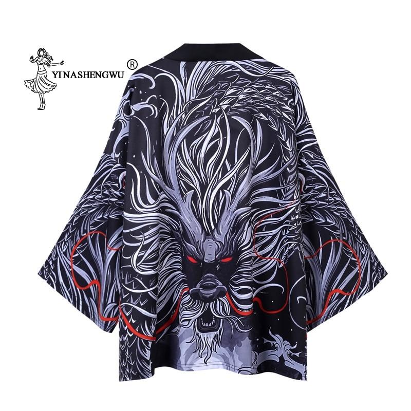 Yukata Women Kimono Cardigan Men Japanese Kimono Traditional  Shirt Cosplay Costume Chinese Style Male Dragon Carp Print Coat