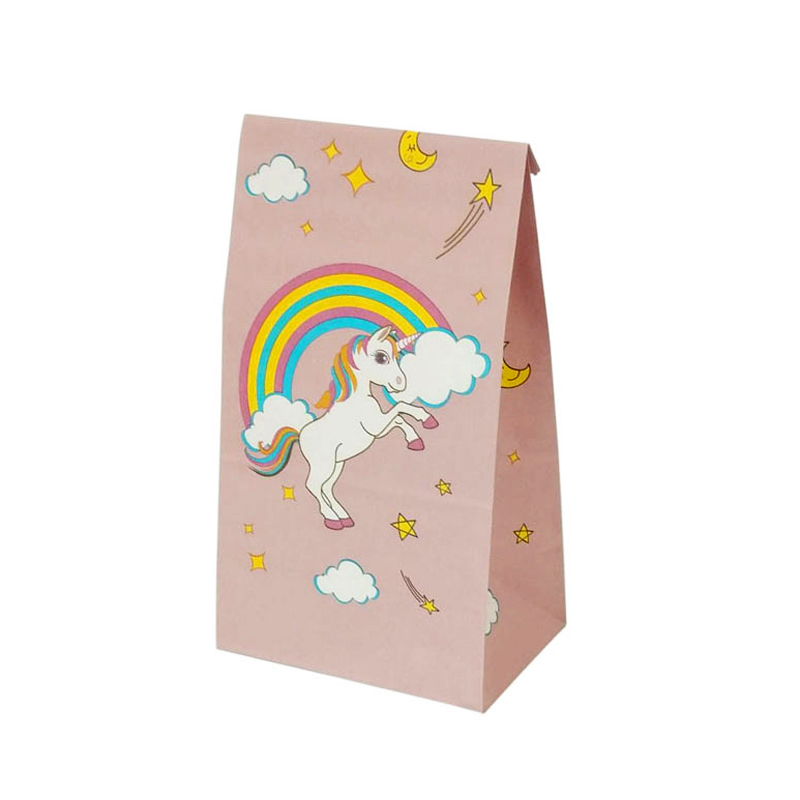 12pcs Cute Unicorn Paper Gift Bags Rainbow Pink Paper Envelope Baby Shower Birthday Party Invitation Envelope  Party Favor Bag