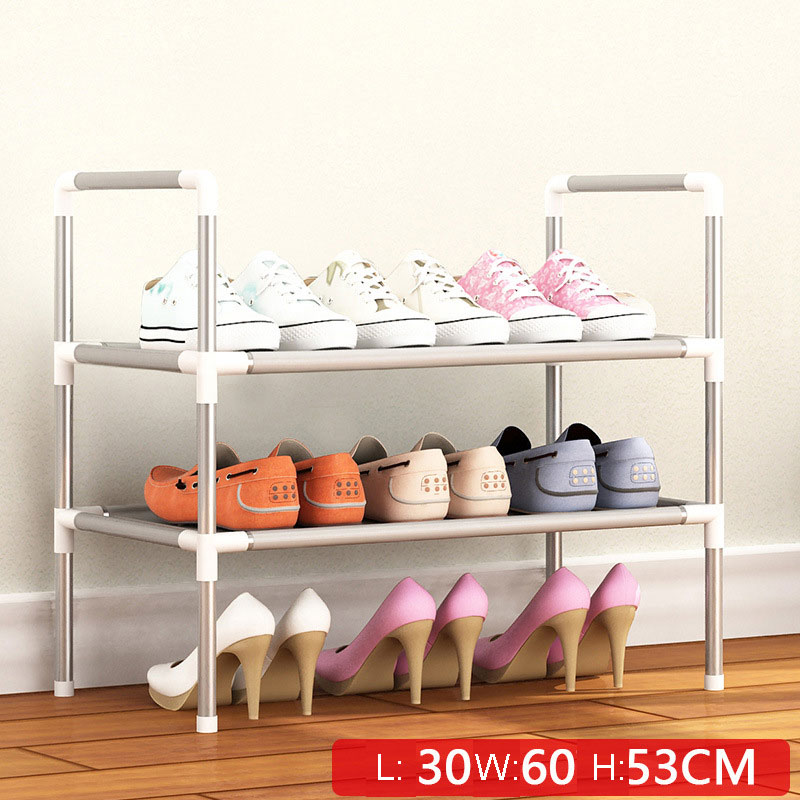 Simple Multi Layer Shoe Rack Nonwovens Easy Assemble Storage Shelf Metal Standing  DIY Shoes Cabinet Living Room Furniture 3