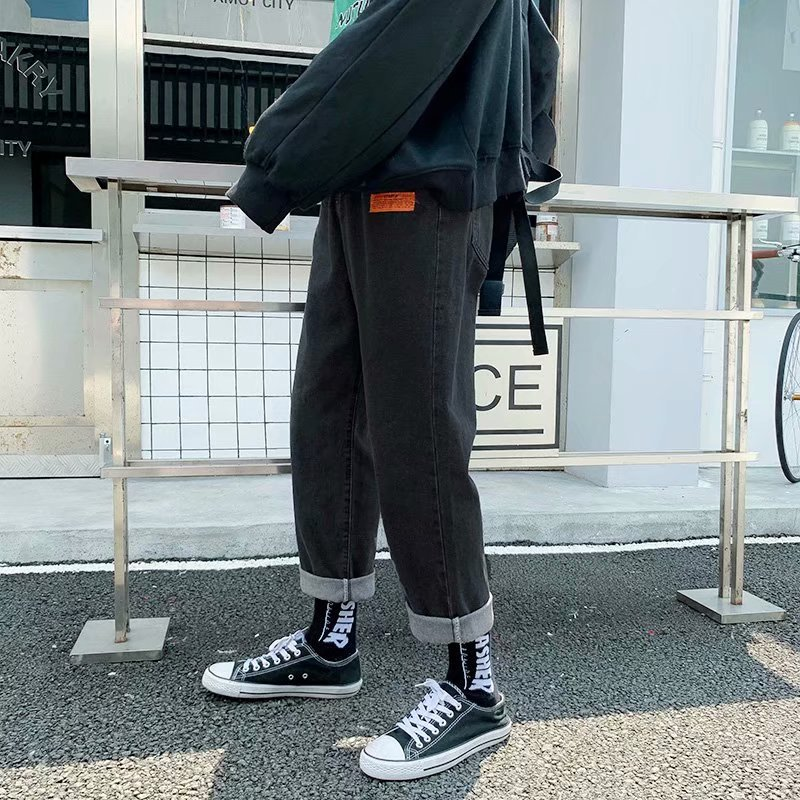 Autumn & Winter Straight-Cut Men Loose-Fit Jeans Popular Brand Korean-style Trend Students Hong Kong Style INS Wide-Leg Capri Pa