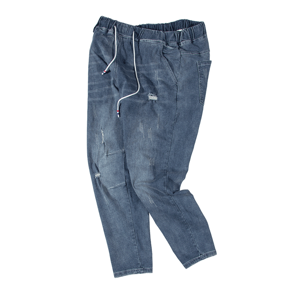 Men's Denim Jeans Stretch Trousers Blue 2019 Summer Hip Hop Streetwear Man Jeans Pants Wide Designer High Quality Plus Size34-48