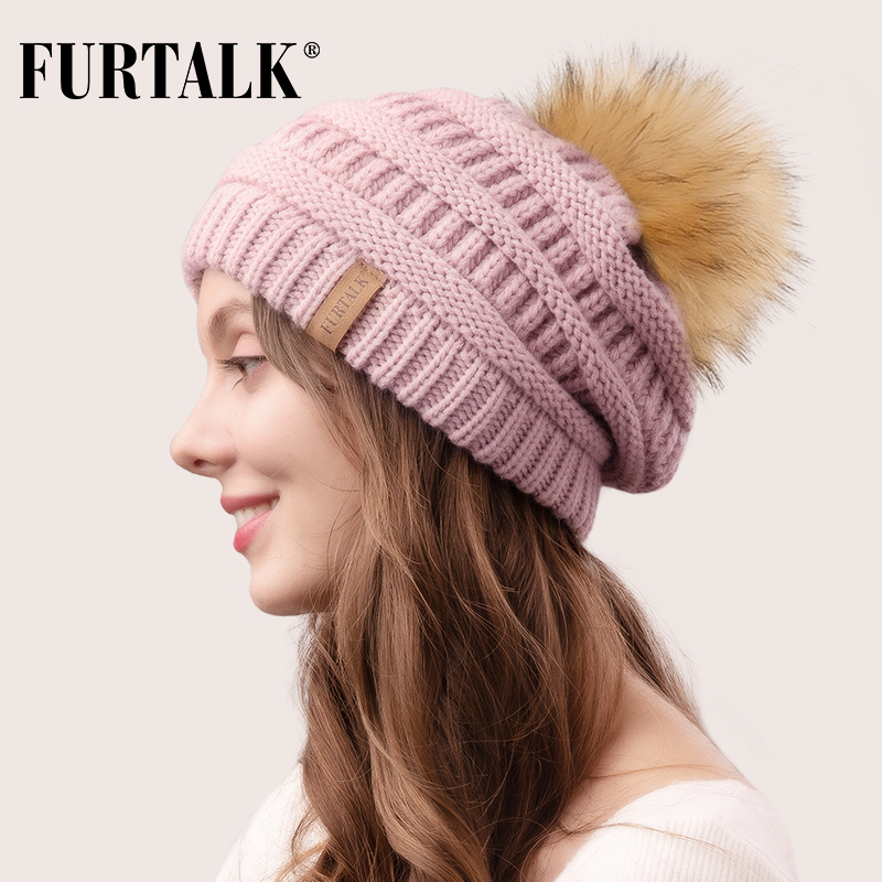 FURTALK Autumn Winter   Beanie   Hat for Women Knitted Pompom Hat Slouchy   Beanie     Skullies   for Female Black Red Yellow bonnet Cap