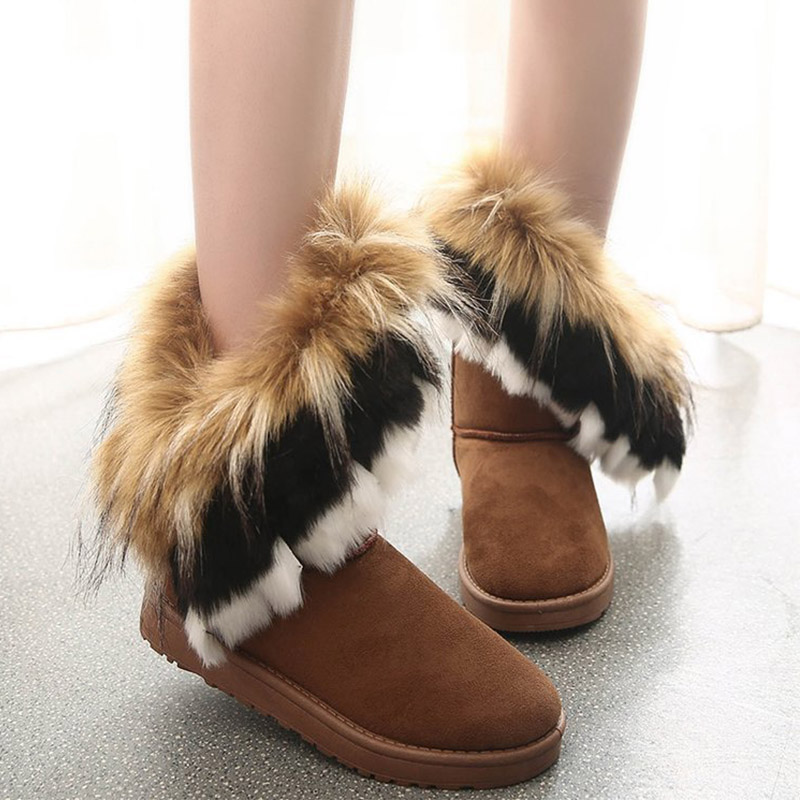 Women Fur Boots Ladies Winter Warm Ankle Boots For Women Snow Shoes Style Round-toe Slip On Female Flock Snow Boot Ladies Shoes 21
