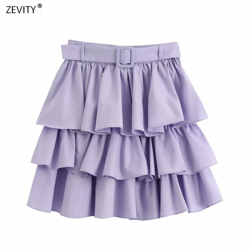 Zevity New Women Solid Color Cascading Ruffle Sashes Cake Skirt Faldas Mujer Ladies Side Zipper Vestidos Chic Mini Skirts QUN635