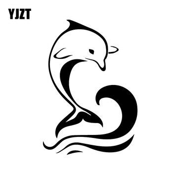 YJZT 17CM * 12.9CM piękne słodkie delfin dziewczyna dekorowanie samochodów naklejki samochodowe moda Dcals czarny/srebrny C30-0134