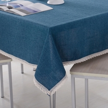 Solid Color Decorative Tablecloth Imitation Linen Lace Table Cloth Dining Cover Home Decoration
