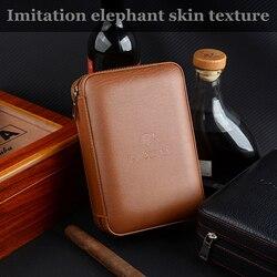 Humidificateur Portable en bois de cèdre Cohiba étui à cigares en cuir, humidificateur de voyage (sans coupe-briquet)