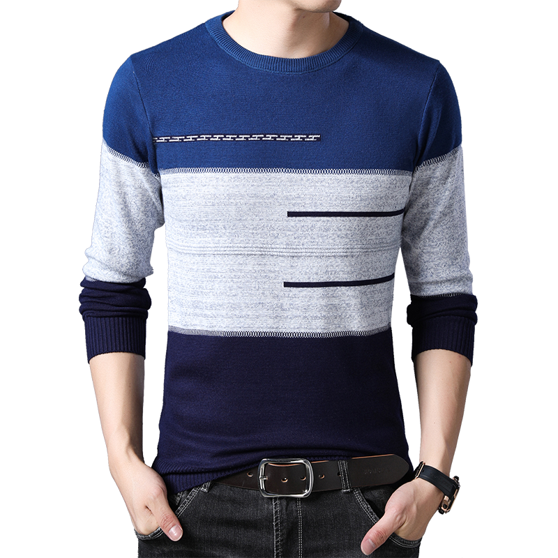 BROWON Brand Male Pullover Sweater Men Knitted Striped Sweaters O-neck Mens Knitwear Clothes Men Winter Sweater For Boy