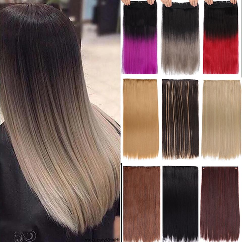 AOOSOO długie proste 5 klipsów do przedłużania włosów syntetyczne Hairpiece Haistyle wysokiej temperatury fibert biały czerwony fioletowy szary