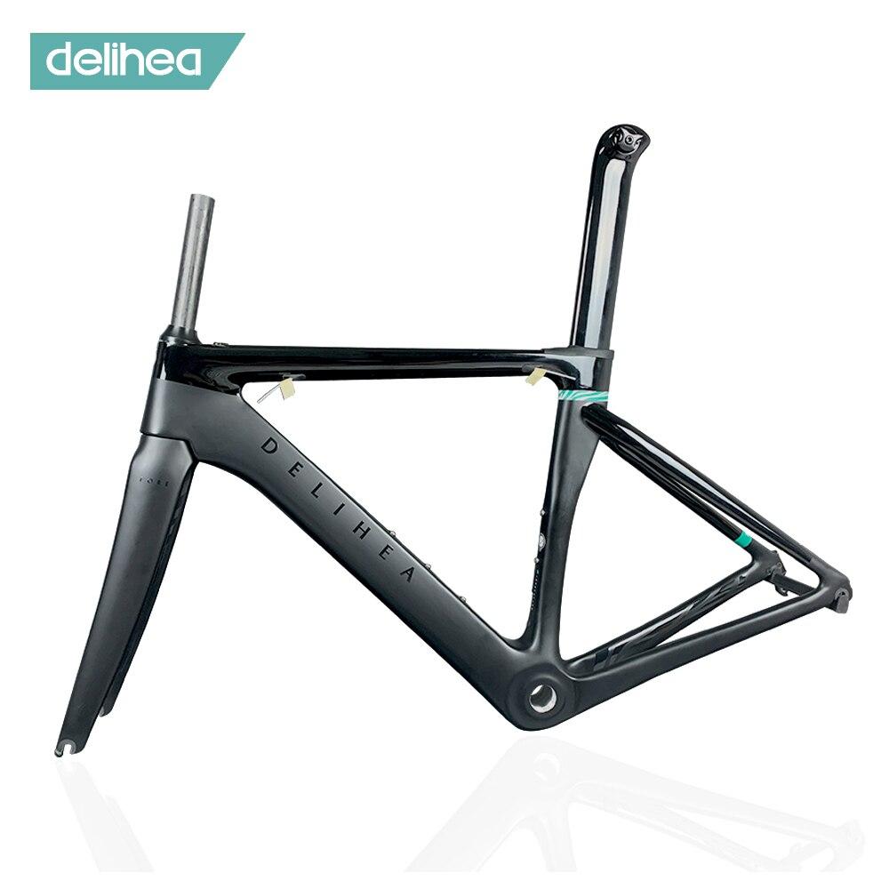 Delihea aero carbono quadro de estrada completo novo design série frente branco quadro da bicicleta acabamento fosco