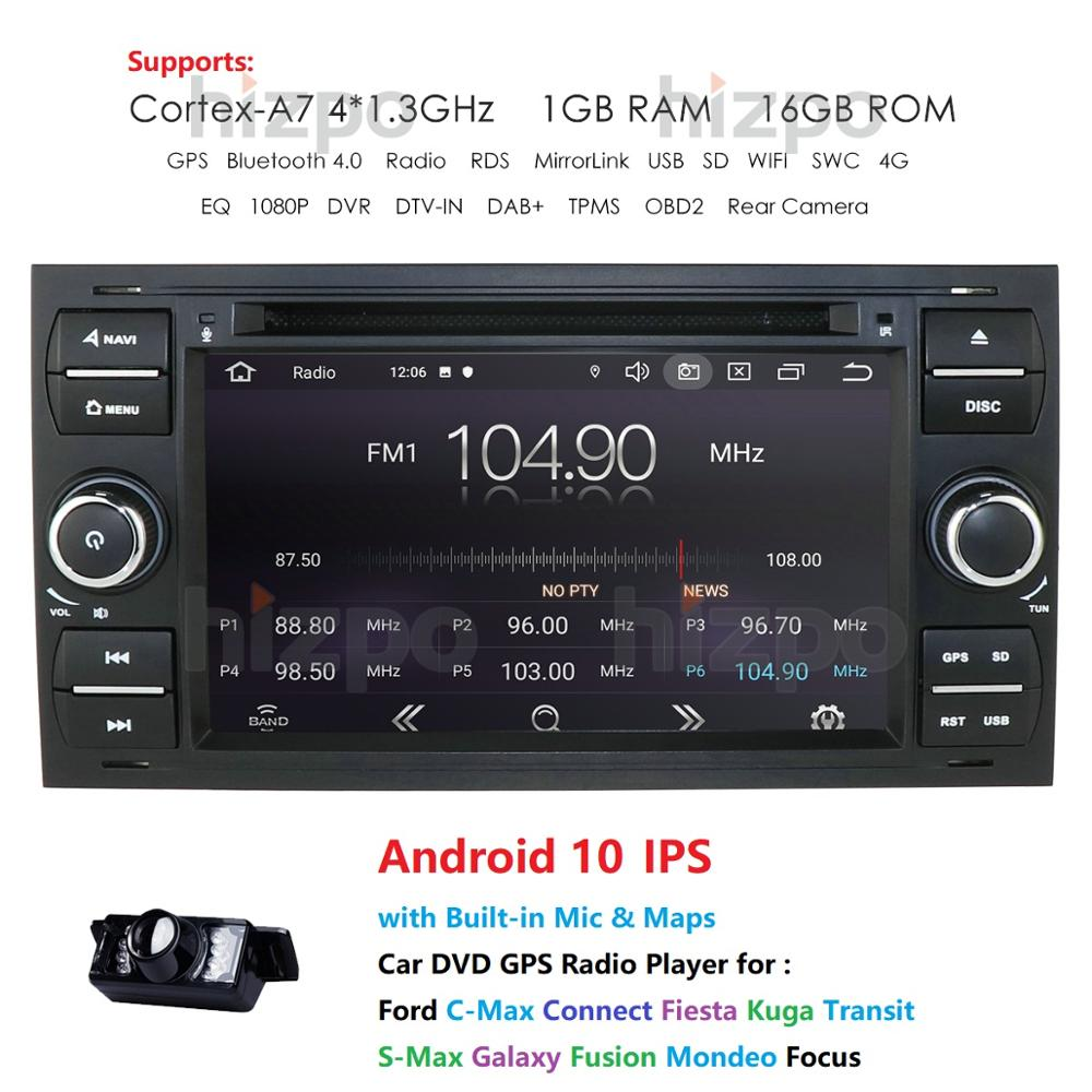 Android 10.0 Car Multimedia For Ford Kuga Mondeo Transit Focus connect C/S Max Wifi DVR DAB TPMS EQ built-in map 1G+16G image