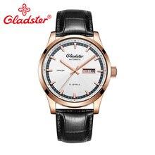Gladster Роскошные Miyota модные механические мужские часы с автоматическим заводом, деловые часы с датой и часами, светящиеся кожаные мужские наручные часы