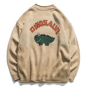 Image 1 - New Dinosaur Lovely Sweater Men Winter Pullover Mens Sweaters Oversized Boy Student Sweater Black Khaki