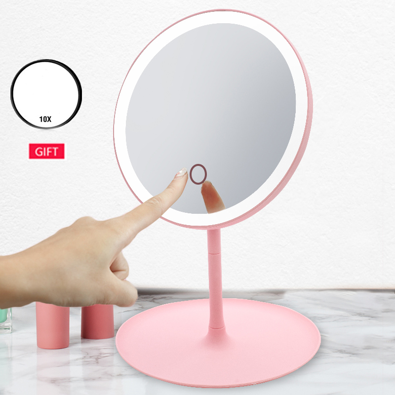 LED Mirror Makeup Mirror With Led Light Magnifying 10x Espejo Vanity Mirrors Make Up Miroir With Lights Standing Mirrors