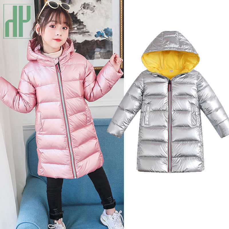 -30 degrees Winter jacket for girls Warm White duck down jackets waterproof coat Hooded kids parka Overcoat Children snowsuit