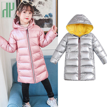 -30 degrees Winter jacket for girls Warm White duck down jackets waterproof coat Hooded kids parka Overcoat Children snowsuit
