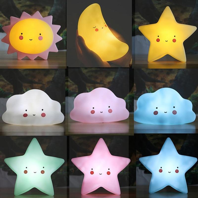 INS Nordic Style Luminous Led Lamp Kids Toy Creative Moon Star Sun Night Light Table Desktop Ornaments Children Room Decoration