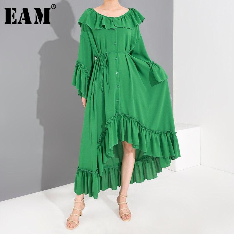 [EAM] Women Green Ruffles Irregular Big Size Shirt Dress New Round Neck Long Sleeve Loose Fit Fashion Spring Summer 2020 1S52206