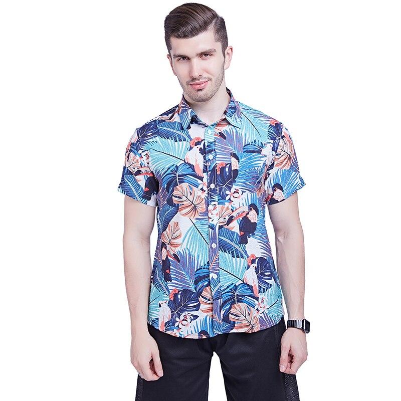 Men Shirts Summer Hawaiian Holiday Dress Turn-down Collar Short Sleeve Camisa Fashion Print Tropical Plant Floral Casual Shirts