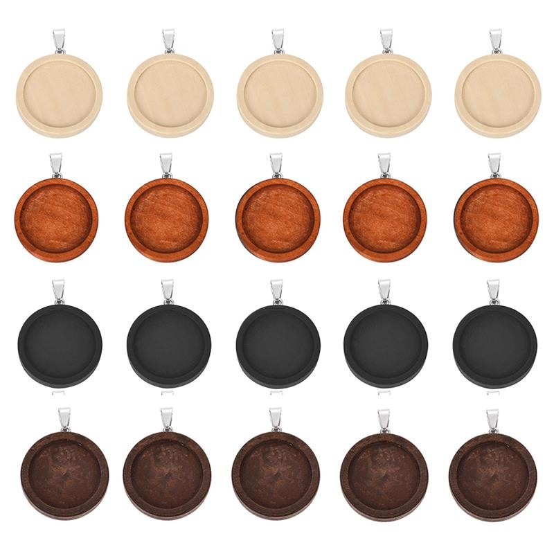 10pcs 25mm 30mm Wood Cabochon Base Setting Trays Bezel Blank Stainless Steel Hook wooden Pendant Charms DIY for Jewelry Making