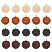 10pcs 25mm 30mm Wood Cabochon Base Setting Trays Bezel Blank Stainless Steel Hook wooden Pendant Charms DIY for Jewelry Making 10pcs fit 25mm stainless steel cabochon base diy blank cameo pendant bezel settings diy jewelry necklace trays
