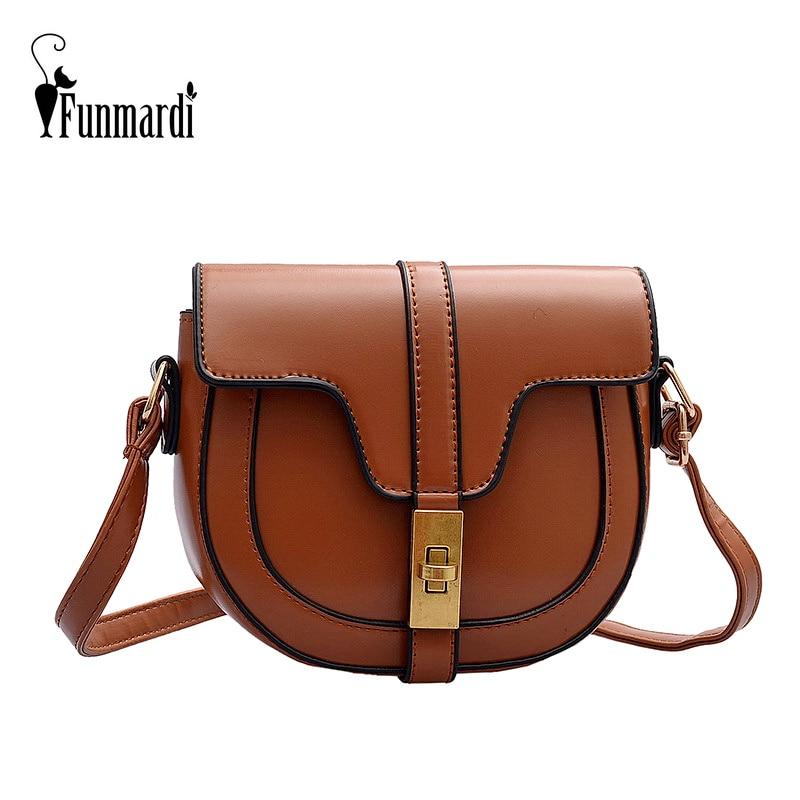 Funmardi Fashion Crossbody Bag For Women Shoulder Bag PU Leather Saddle Bags Lock Design Flap Bag Vintage Small Bag WLHB2157