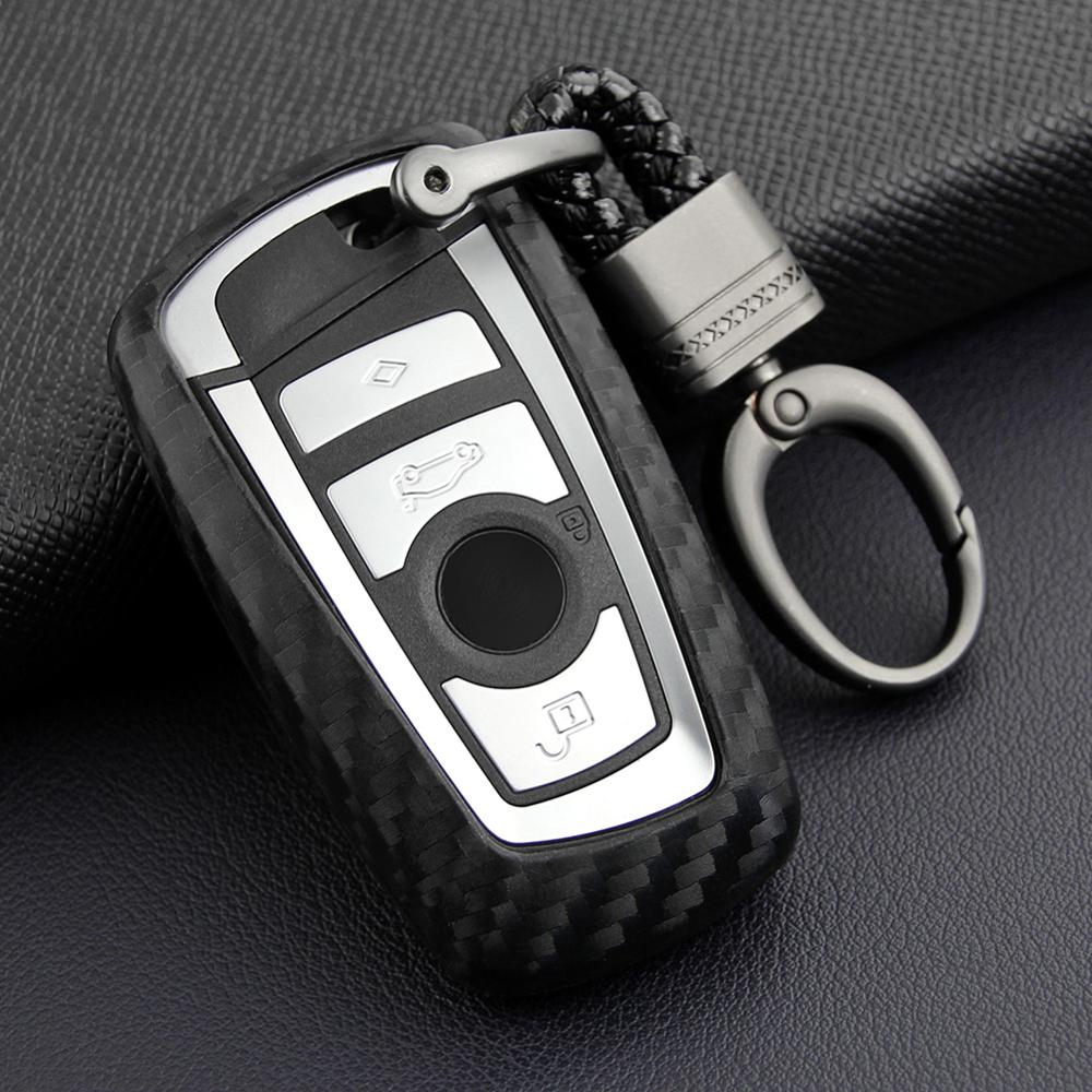 Car-Styling Auto Carbon Fiber Key Cover Shell Case For Bmw New 1 3 4 5 6 7 Series F10 F20 F30 Smart 3 Buttons Accessories