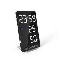 6Inch Spiegel Led Wekker Touch Knop Digitale Klok Led Tijd Temperatuur Vochtigheid Display Met Usb Kabel Tafel Klok