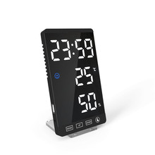 6Inch Mirror LED Alarm Clock Touch Button Digital Clock LED Time Temperature Humidity Display With USB Cable Table Clock