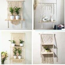 Macrame Opknoping Planter Mand Muur Handgemaakte Plant Hanger Pot Indoor Averecht Rand En Hout Bead Party Bruiloft Woondecoratie