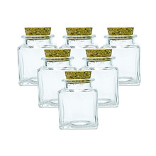 6pcs 50ml Small Square Shape Bottle With Corks Lid Empty Glass Bottles Gift Liquid Food Grade Seal Jars Vials