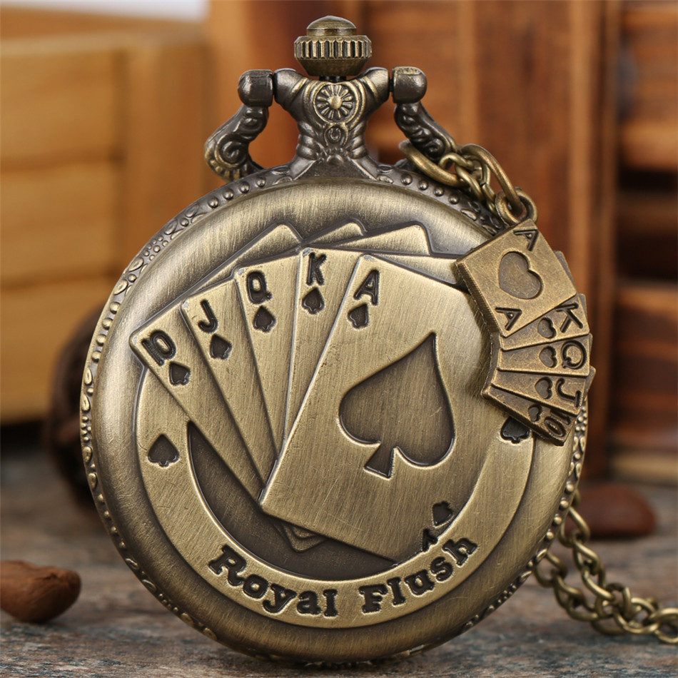 Bronze Royal Flush Poker Design Quartz Pocket Watch Vintage Necklace Watch Exquisite Pendant Clock Gifts For Men Women