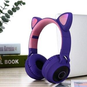 Image 3 - Dosmix LED ucho kota słuchawki z redukcją szumów zestaw słuchawkowy Bluetooth 5.0 dla dzieci obsługa karty TF 3.5mm wtyczka z mikrofonem