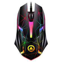 Ajuste prendido colorido do rato do jogo do escritório 1200dpi da relação de usb do brilho 3 botões rato ótico de 1.28m para o portátil de desktops